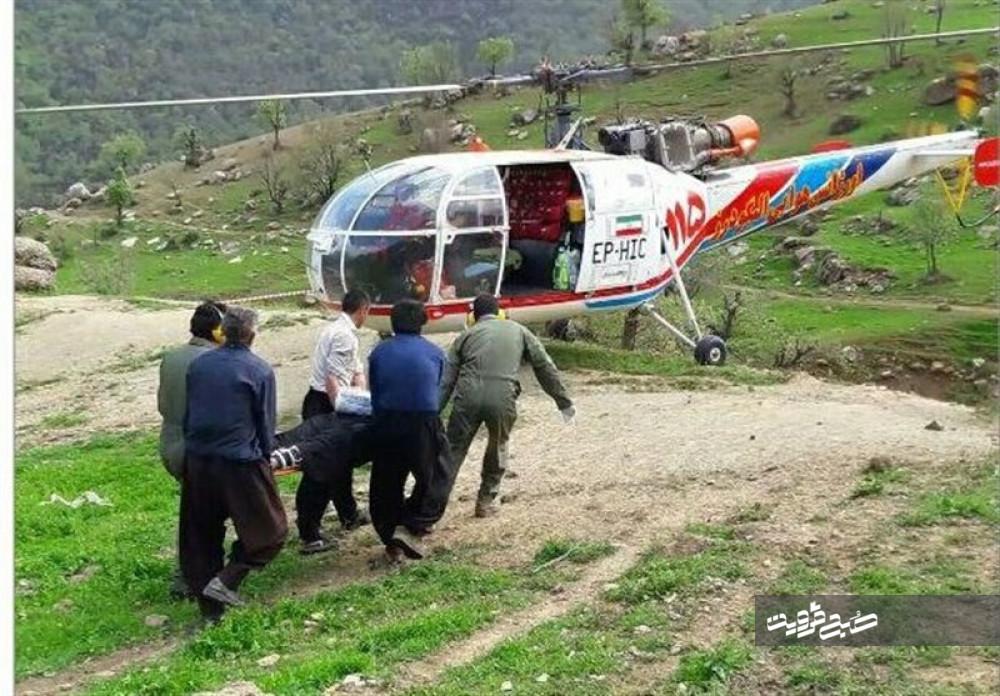 پرواز اورژانس هوایی برای نجات مصدوم سقوط از ارتفاع در آبگرم